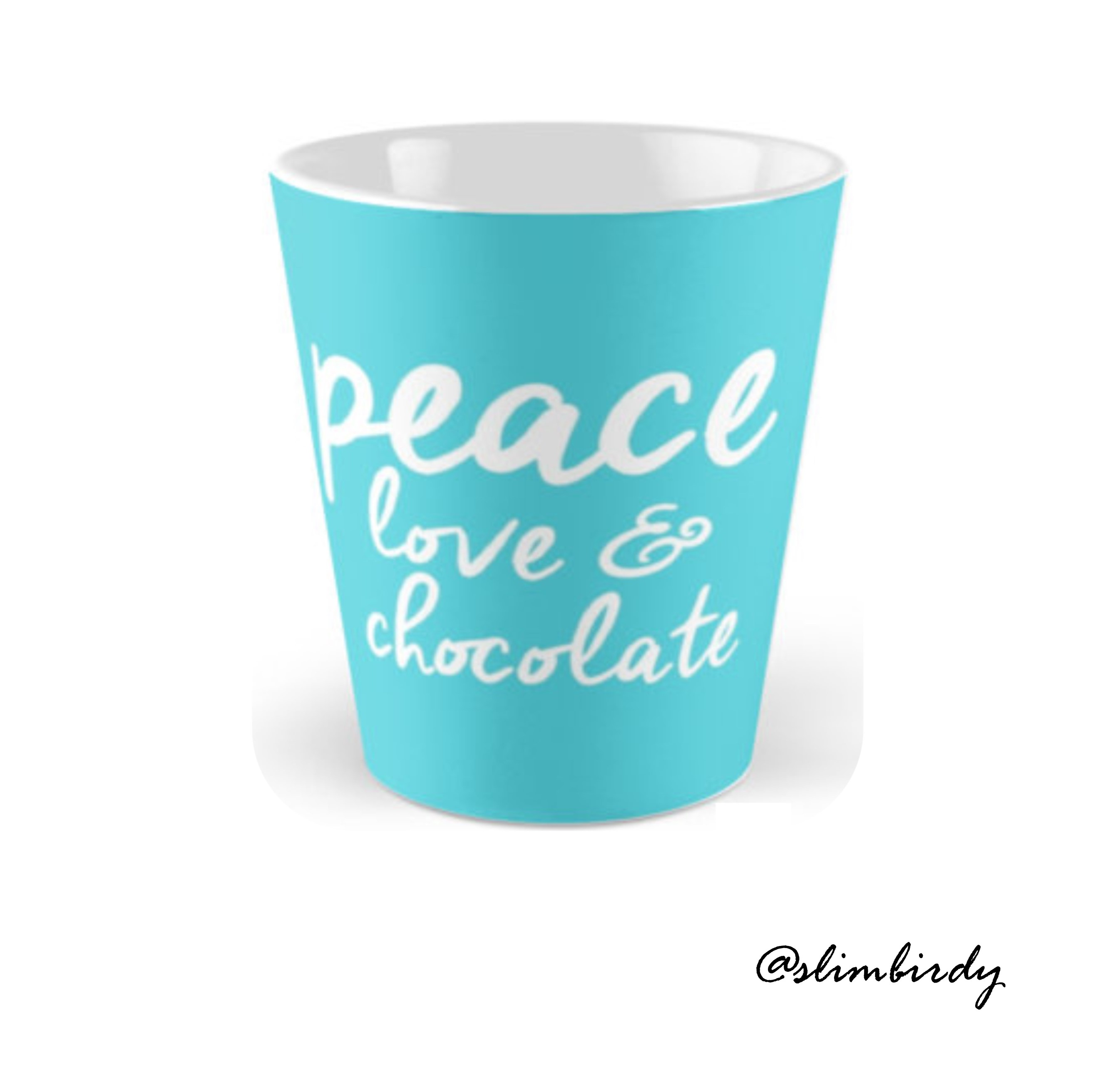 Peace, love, chocolate, aqua, decor, mug, alternative, relaxed